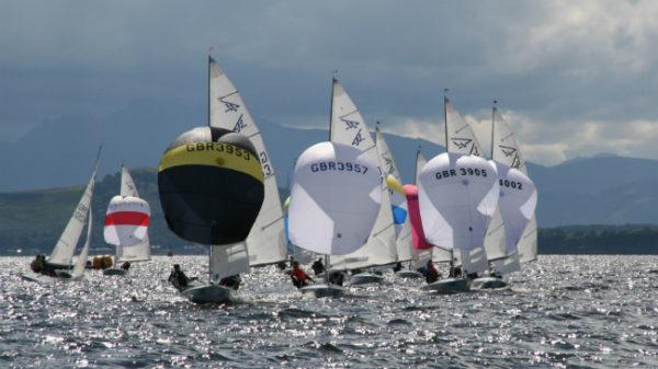 Pic: Robert Hogben/Glyn Morgan (left, black spinnaker) lead downwind. Picture by Alan Henderson/ www.fotoboat.com